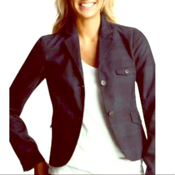 GAP Jackets & Blazers - GAP Navy Plaid Shrunken Wool Blend Blazer